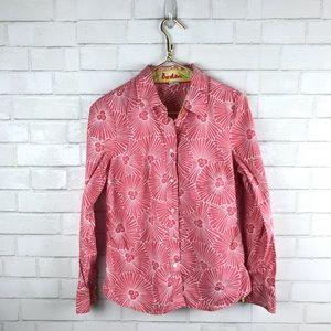 Boden Floral Pink Button Front Cotton Shirt